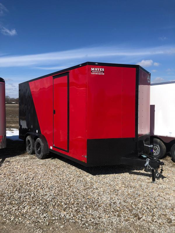 2022 Cargo Mate EHW716TA2 Enclosed Cargo Trailer - 7.5x16 TA - Side by Side Pkg - Black Out Pkg - Ramp Door - 7.5 Wide Body Design (GVW:  7000)