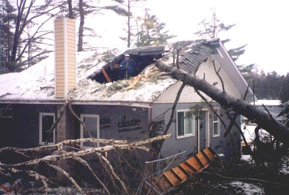 Ice Story Brown's Marina Breaked roof in a storm