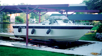 Brown's Marina Naylor Wet Slip A boat Suspended With a Wet Slip