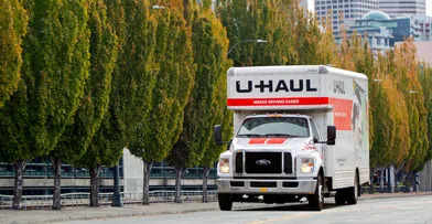 U-Haul truck in a city enviornment