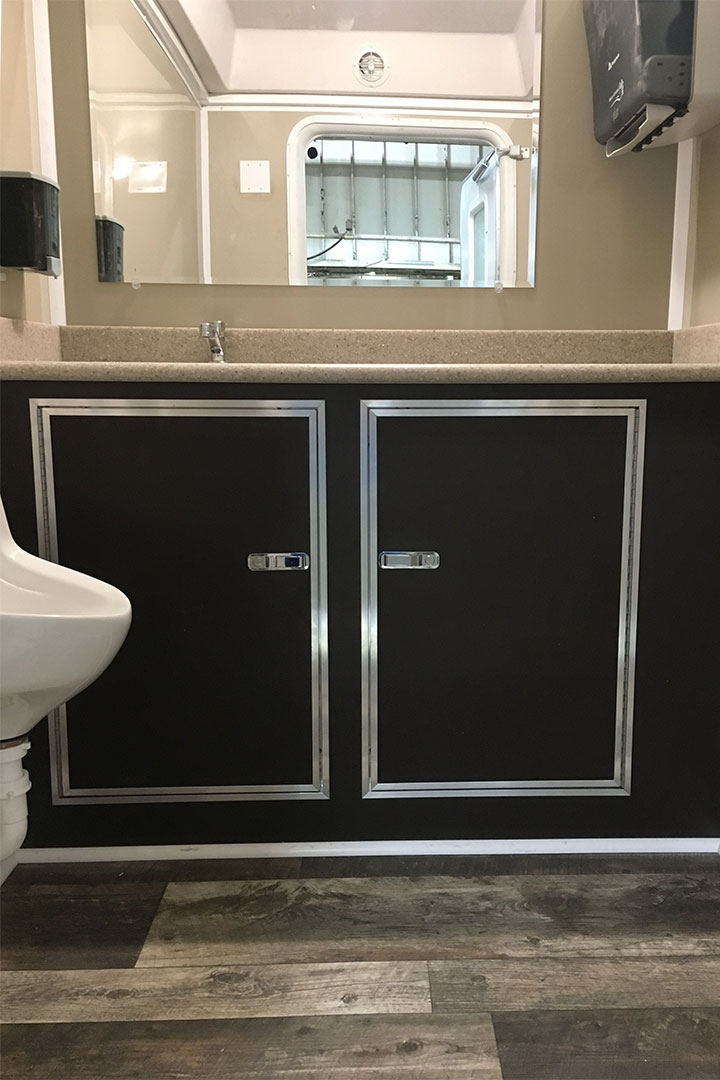 restroom trailer champagne interior upgrade option