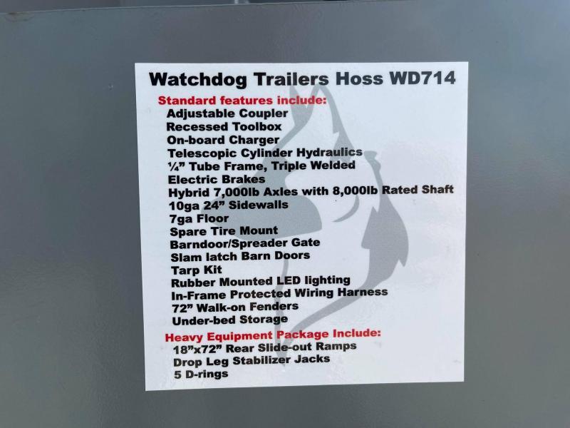 2022 Watchdog WD714 14K TELESCOPIC DUMP Dump Trailer