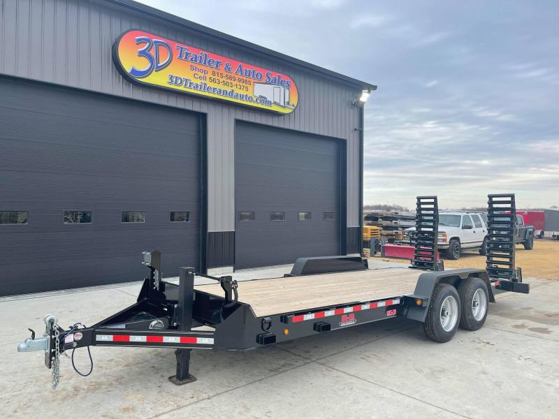 2021 B & B 20' 16K Structual Channel Skid Loader Trailer w/ Stand Up Ramps