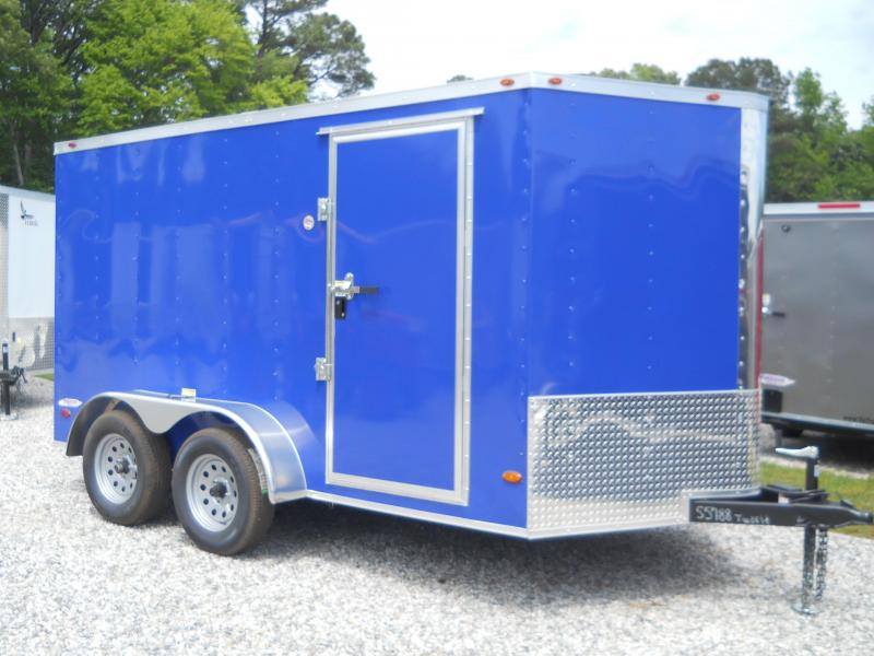 "2020 Freedom Trailers 7x12 V-NOSE*"" 6'9"" RV DOOR REAR RAMP"