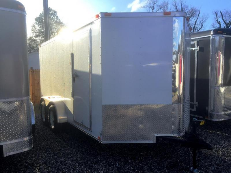 "2021 Freedom Trailers 7x14 V-NOSE*"" 6'3"" RV DOOR REAR RAMP"