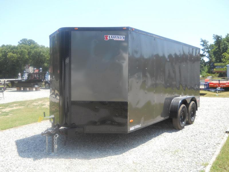 "2021 Freedom Trailers 7x16 V-NOSE*"" BLACK OUT PACKAGE/ RV DOOR REAR RAMP"