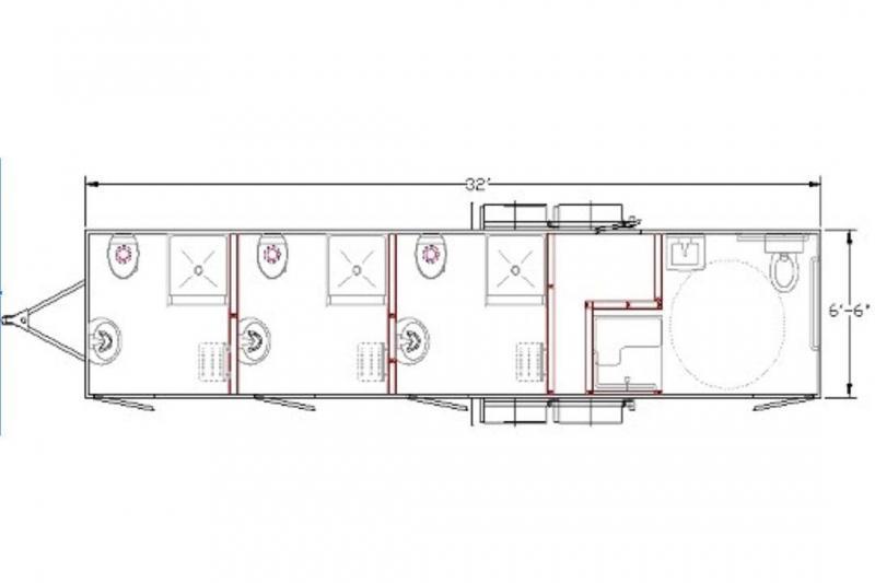 4 Station - ADA +3 Compliant Restroom Shower Trailer Combo