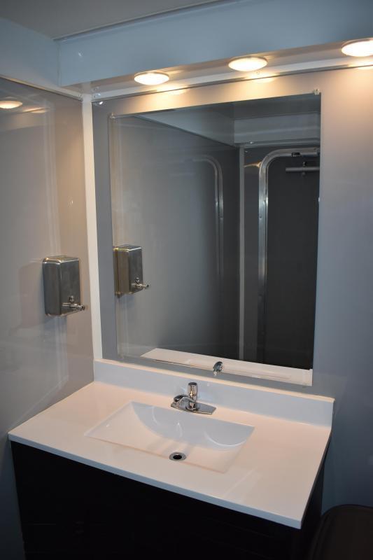 4 Station Restroom Trailer - Private Floor Plan