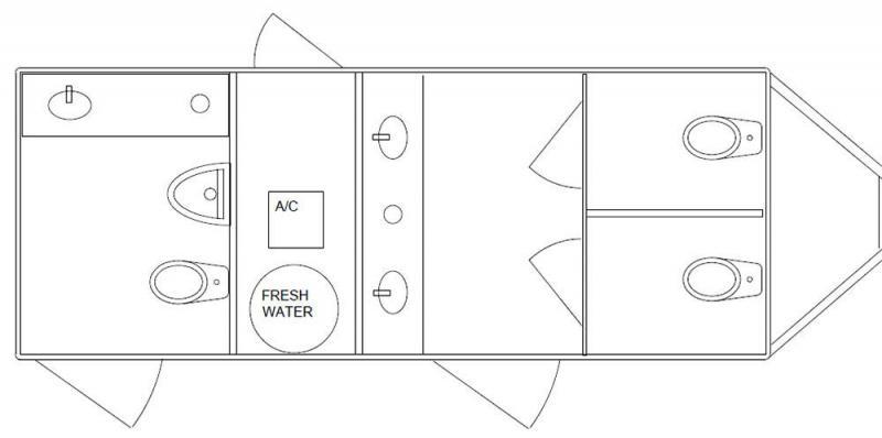 3 Station Restroom Trailer - Public Floor Plan