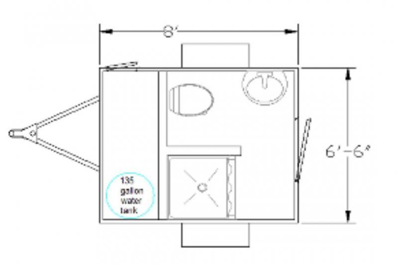 1 Station Restroom Shower Trailer Combo