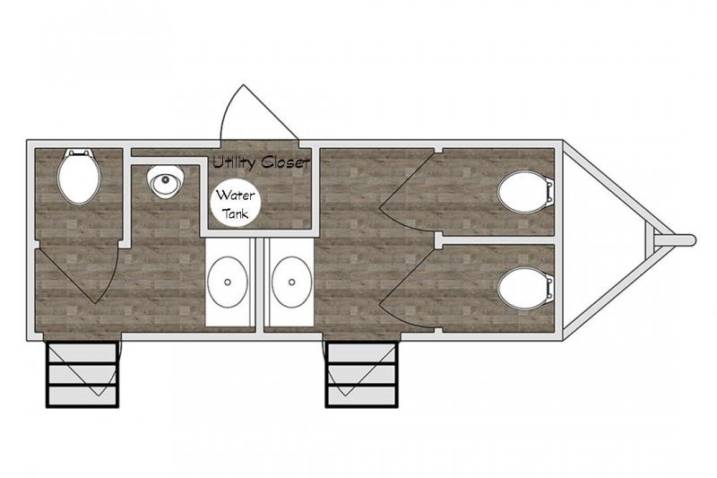 4 Station Restroom Trailer - Public Floor Plan