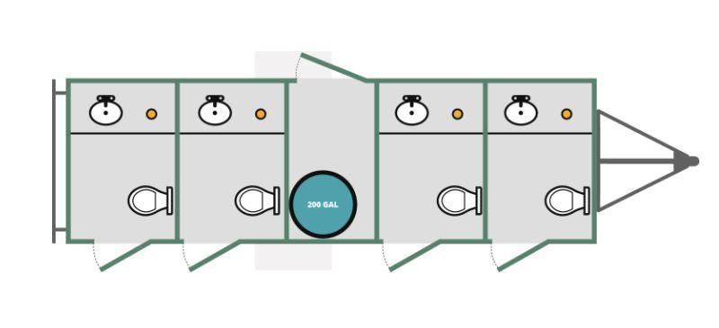 4 Station Private Restroom Trailer - Upgraded TAN Interior