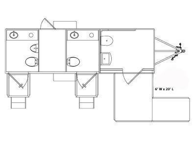 3 Station - ADA +2 Station Restroom Trailer (Upgraded Interior)