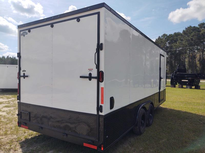 2022 Diamond Cargo 8X20 TANDEM AXLE V-NOSE WHITE BLACK OUT ENCLOSED CARGO TRAILER