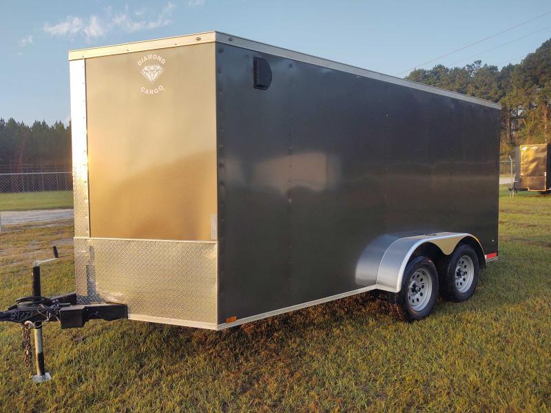 2022 Diamond Cargo 7x14 Tandem Axle Charcoal Enclosed Cargo Trailer