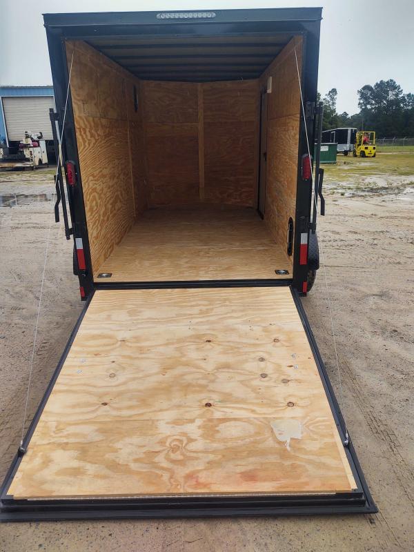2022 Diamond Cargo 7X12 V Nose Single Axle Black Blackout Enclosed Cargo Trailer