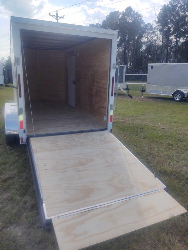 2022 Diamond Cargo 6X12 Tandem Axle White Enclosed Trailer