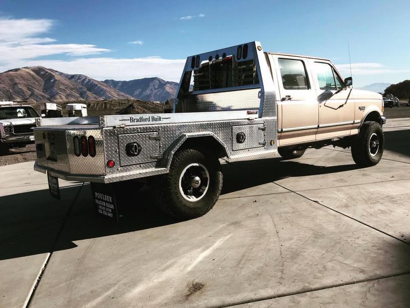 Bradford Built Aluminum 4-Box Utility Full Skirted Truck Bed For Single Wheel Long Bed Truck