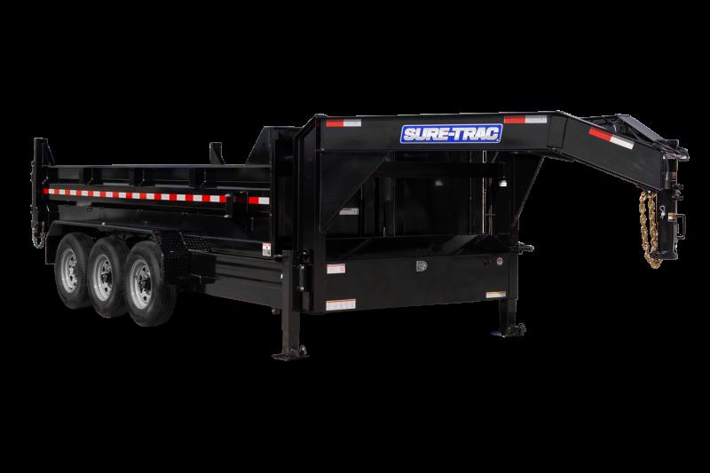 2021 Sure-Trac 7 x 16 HD Low Profile Gooseneck Tri-Axle Dump Trailer 21K
