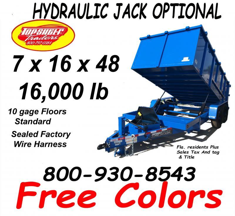 7 x 16 x 48 DUMP TRAILER 16000 Lb Dumps More Weight 4 Foot High