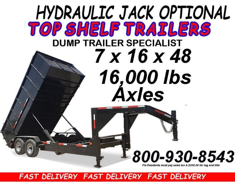 Dump Trailer 7 x 14 x 48 GOOSENECK FREE COLORS