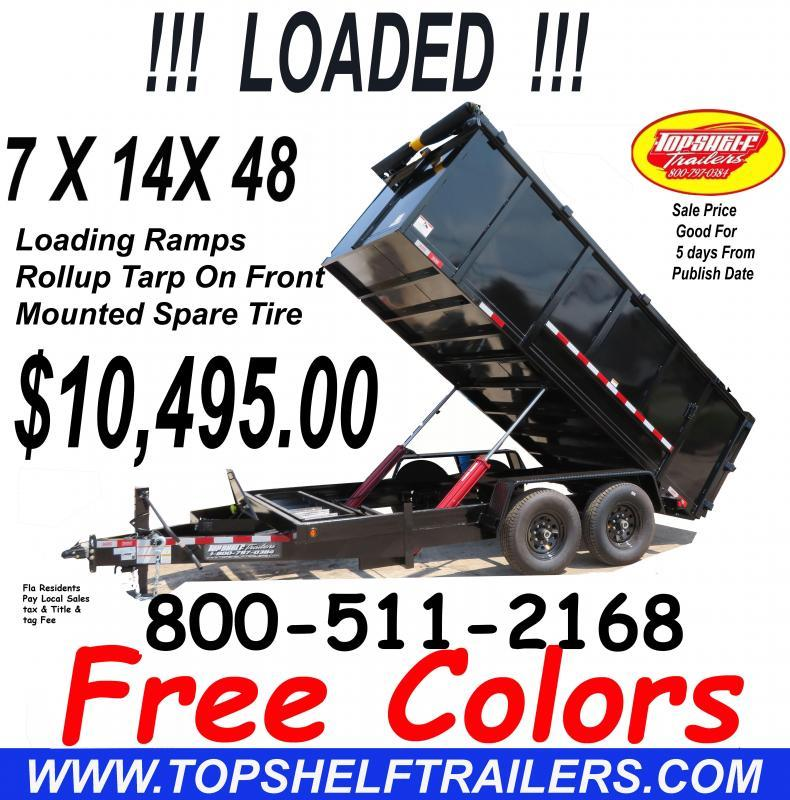 7 X 14 X 48 Dump Trailer INNCLUDES Rollup Tarp Ramps And Mounted Spare Tire