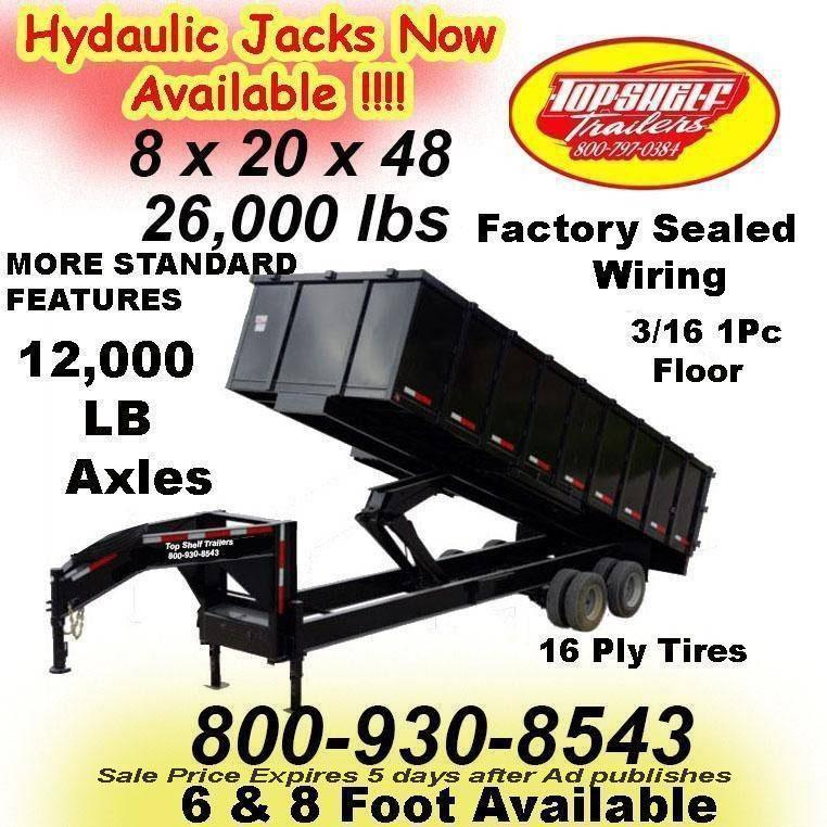 SAVE BIG ON NEW DUMP TRAILER LIMITED TIME 7 x 14  x 48 TRAILERS