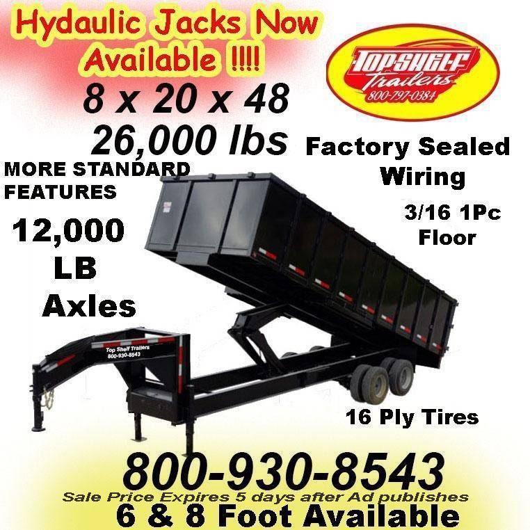 7 x 16 x 48 DUMP TRAILER 14000 Lb Dumps More Weight 4 Foot High