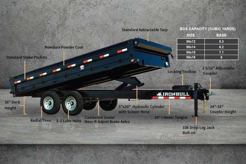 "2021 Iron Bull 96""x16' 14K Deck-Over Dump Trailer"