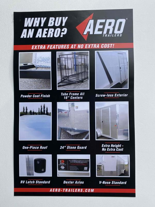 2022 AERO 7X14TA35 UTV WHITE/BLACKOUT W/ALUMINUM RIMS Enclosed Cargo Trailer