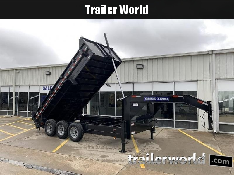 2021 Sure-Trac 16' Dump Trailer 21K GVWR Telescopic Goose