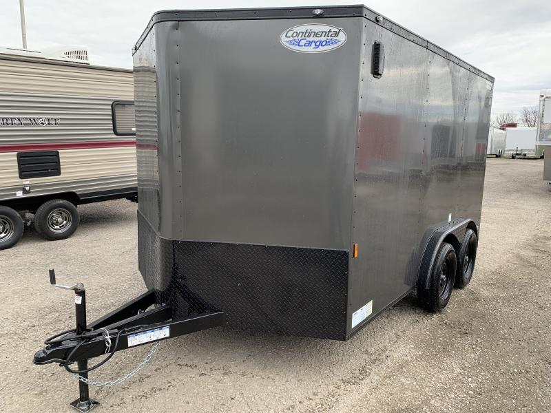 2021 Continental Cargo 7.5' x 12' x 6.3' Vnose Enclosed Cargo Trailer Black-Out Trim