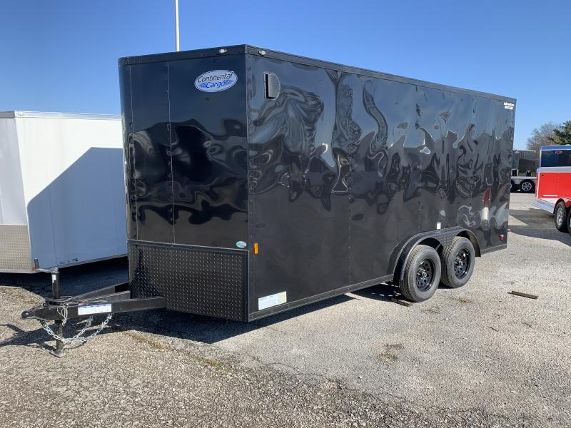 2022 Continental Cargo 7.5' x 16' x 6.9' Vnose Enclosed Cargo Trailer Black-Out Trim
