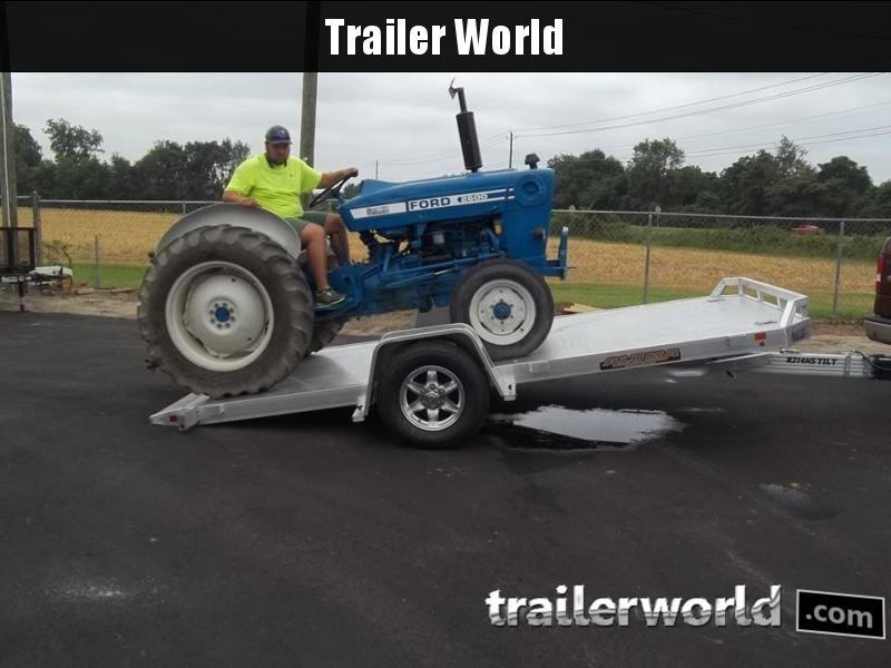 2022 Aluma 8214HS 14' Single Axle Aluminum TILT Open Car Hauler Trailer