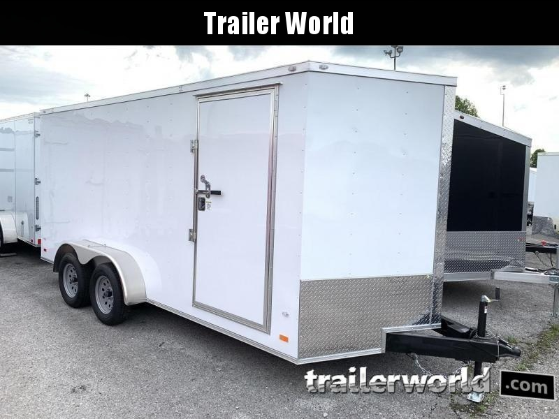 "2021 CW 7' x 16' x 6'6"" Vnose Enclosed Cargo Trailer Ramp Door"