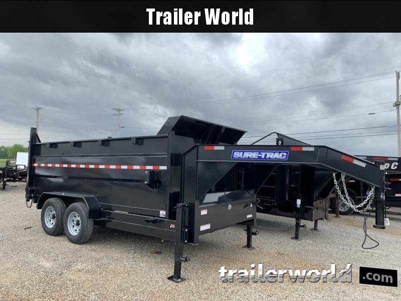 2021 Sure-Trac  14' Gooseneck Dump Trailer  14K Telescopic 4ft Sides