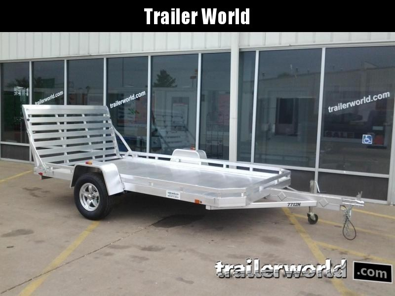 2022 Aluma 7712H Straight Tail Gate 12' Aluminum Utility Trailer