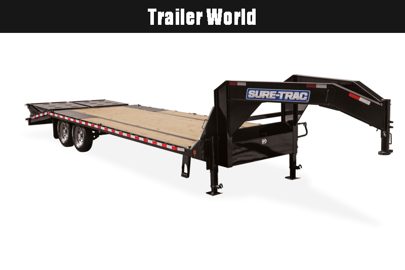 2021 Sure-Trac Gooseneck  20' + 5' Flatbed Wide Ramps Equipment Trailer 15k