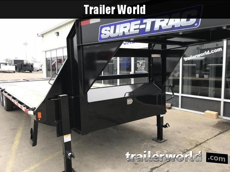 2021 Sure-Trac Gooseneck  23' + 5' Flatbed Wide Ramps Equipment Trailer 15k