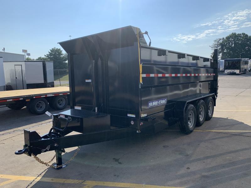 2021 Sure-Trac 16' Tri-Axle Dump w/ 4' Sides 21K GVWR Scissor Hoist