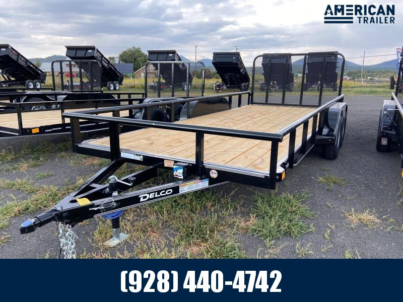 """2021 Delco Utility Trailer/7,000 GVWR/83""""x18' with Pipe Top Rail"""