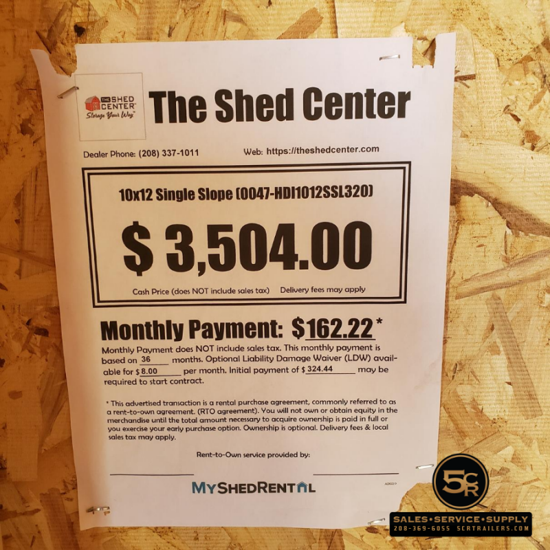 2020 Shed Center Single Slope Shed