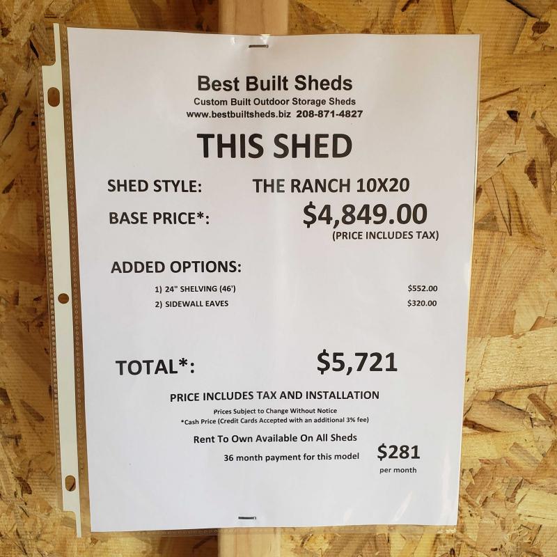 2021 Best Built Sheds The Ranch 10' x 20'