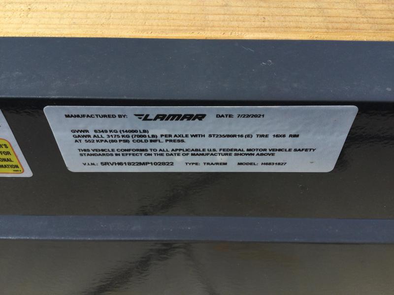 2021 Lamar 83x18 Equipment Trailer 14K
