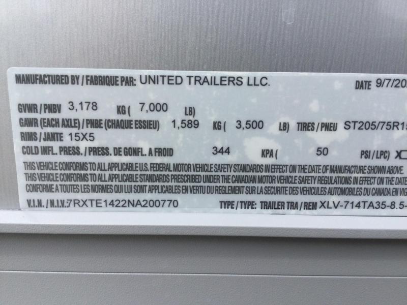 2022 United XLV 7x14 V-Nose Enclosed Cargo Trailer