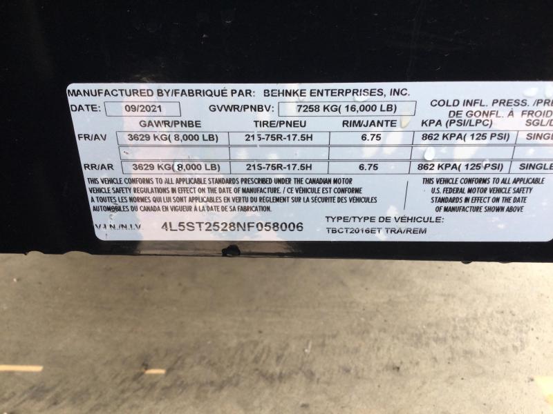 2022 Behnke 16K 83X20 (16+4) Partial Tilt Equipment Trailer