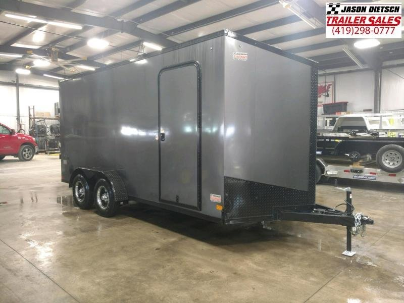 2022 Impact Tremor Blackout 7X16 Extra Height V-Nose Cargo Trailer