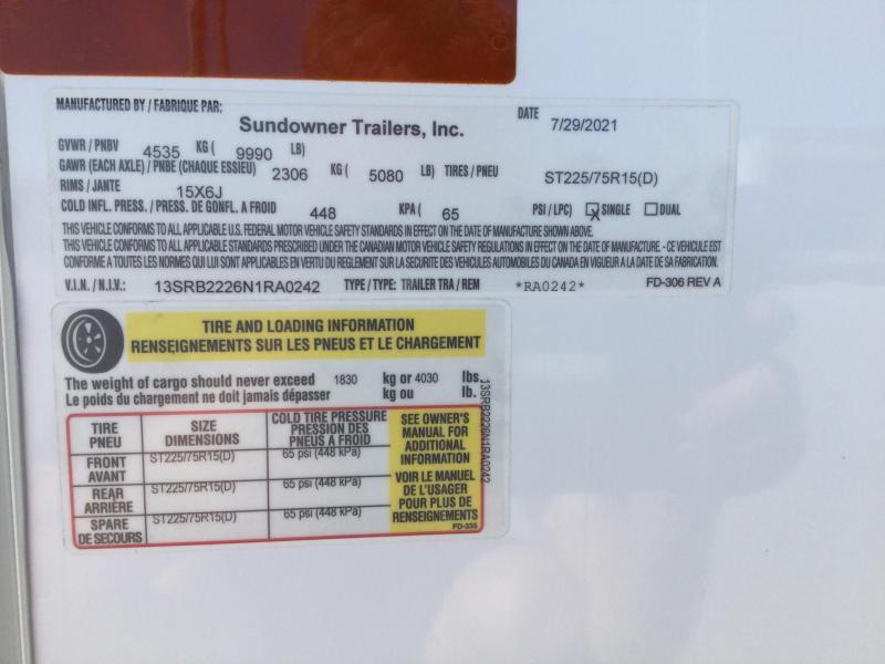 2022 Sundowner TrailBlazer 8.5X22 RV/Toy Box
