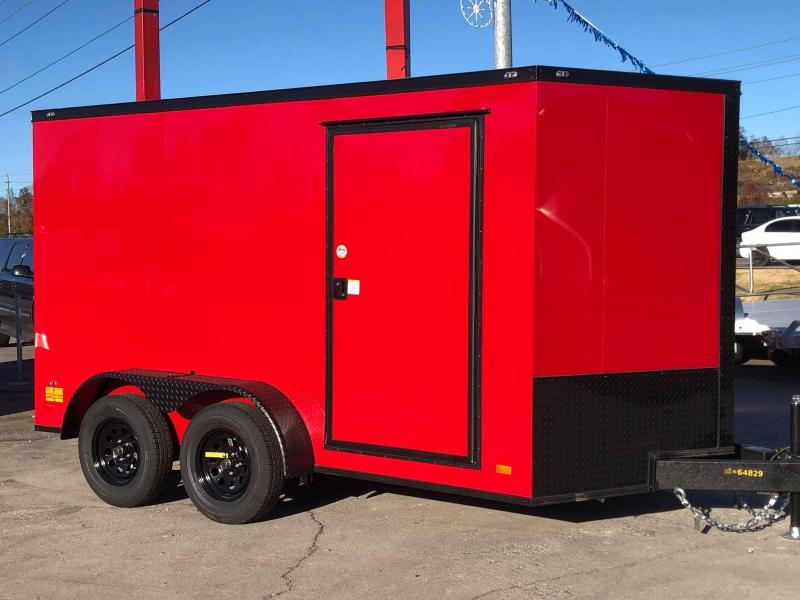 2021 Covered Wagon Trailers 7X12 TA RED B/O Enclosed Cargo Trailer