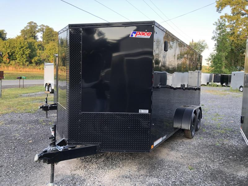 Black Out Pace 7x14 Journey SE V-Nose Cargo Trailer w/ Ramp door